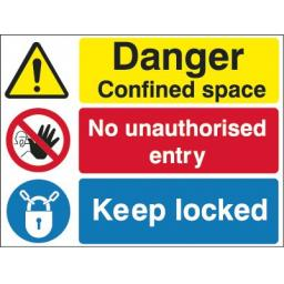 Danger Confined space No unauthorised entry Keep locked