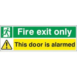 Fire exit only - Running man - This door is alarmed