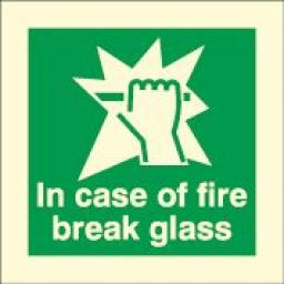 In case of fire break glass (Photoluminescent)