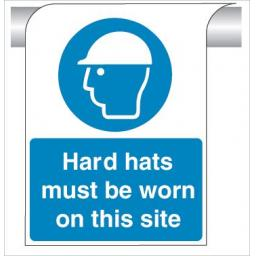 Hard hats must be worn on this site - Curve Top Sign