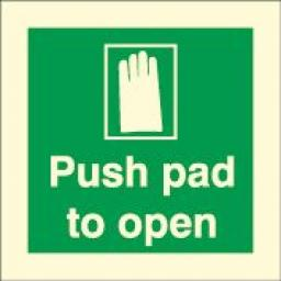 Push pad to open (Photoluminescent)