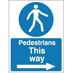 Pedestrians this way (Arrow right)