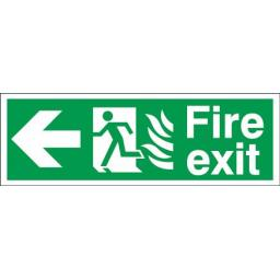 Fire exit - Flame - Running man - Left arrow