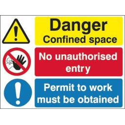 Danger Confined space No unauthorised entry Permit to work must be obtained