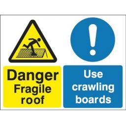 Danger Fragile roof Use crawling boards