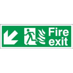 Fire exit - Flame - Running man - Down left arrow