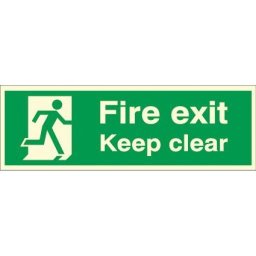 Fire exit - Keep clear - Running man (Photoluminescent)
