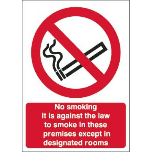 No smoking It is against the law to smoke in these premises except in designated rooms