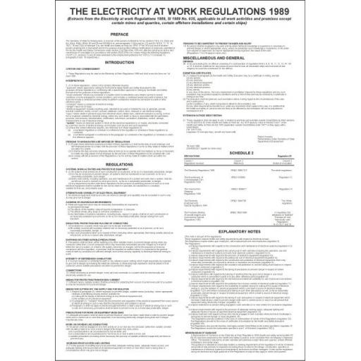 THE ELECTRICITY AT WORK REGULATIONS 1989 poster
