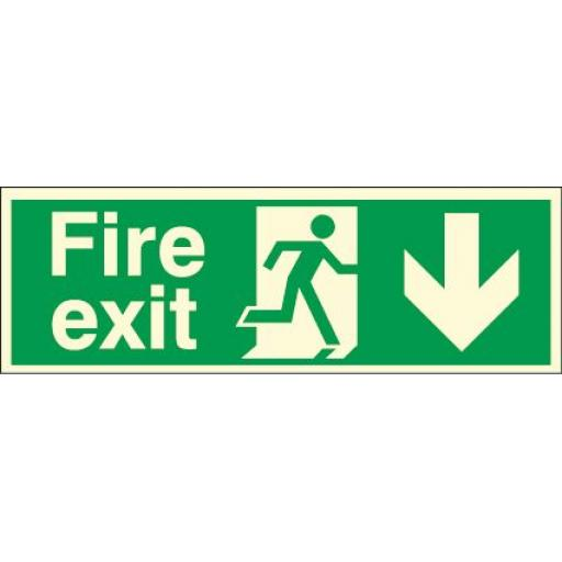 Fire exit - Running man - Down arrow (Double sided) (Photoluminescent)