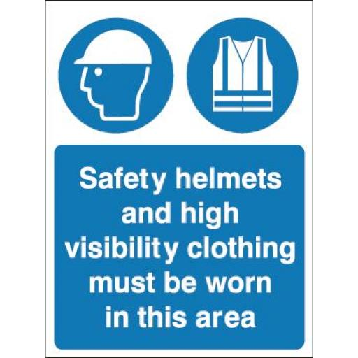 Safety helmets and high visibility clothing must be worn in this area