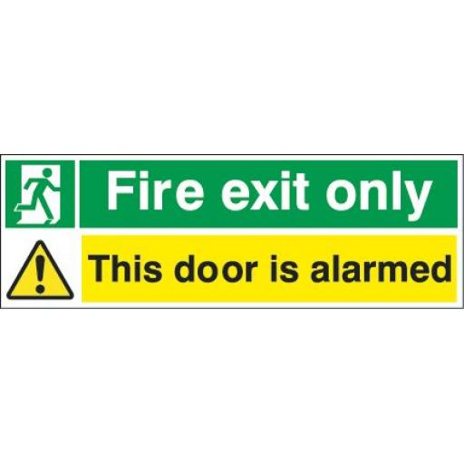 Fire exit only - Running man - This door is alarmed