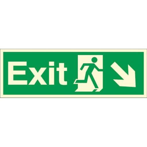 Exit - Running man - Down right arrow (Photoluminescent)