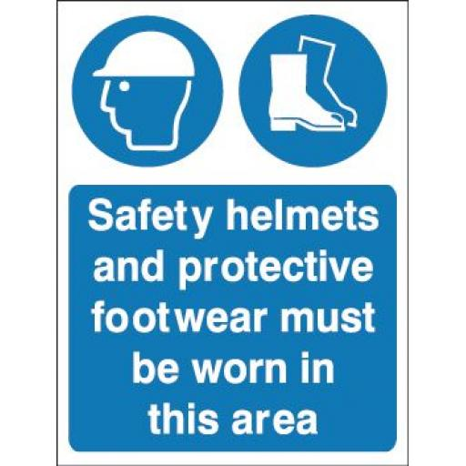 Safety helmets and protective footwear must be worn in this area