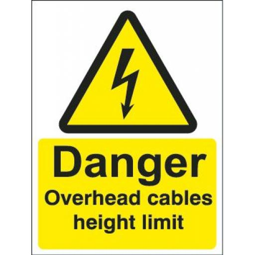 Danger Overhead cables height limit