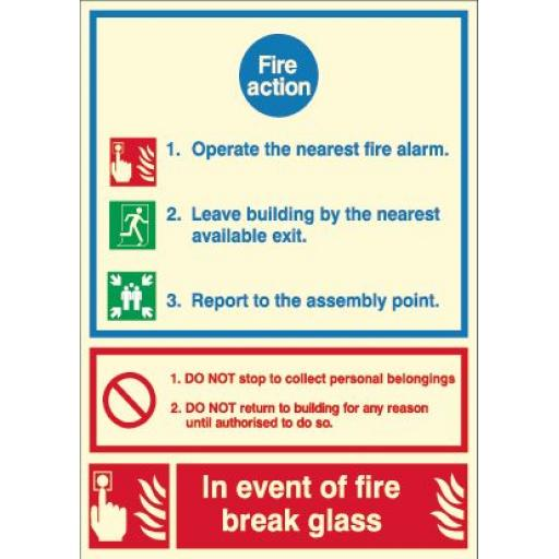 Fire Action - In the event of fire break glass (Photoluminescent)