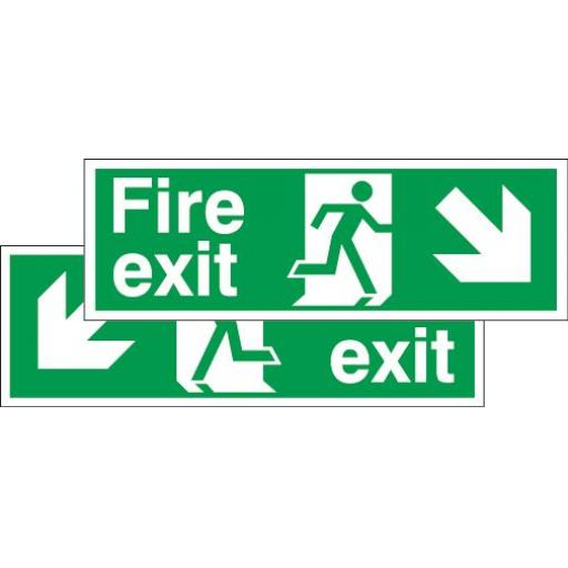 Fire exit - Running man - Down right arrow or Down left arrow (Double sided)