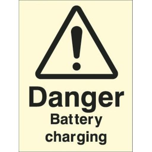 Danger Battery charging (Photoluminescent)