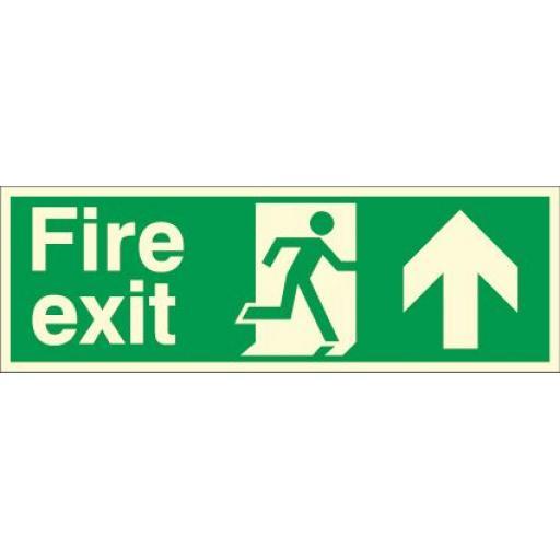 Fire exit - Running man - Up arrow (Photoluminescent)
