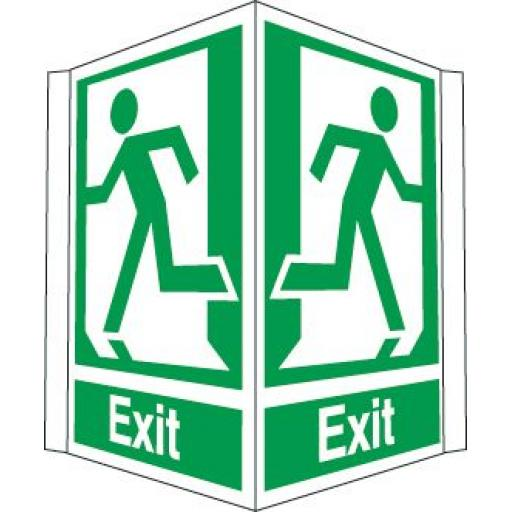 Exit - Running man left and right (Projecting sign)