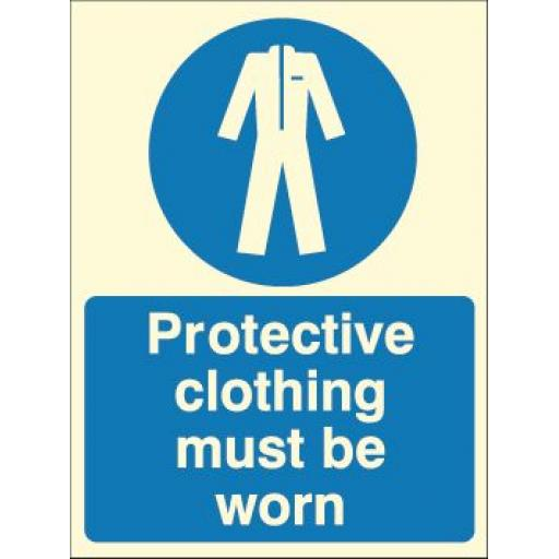 Protective clothing must be worn (Photoluminescent)