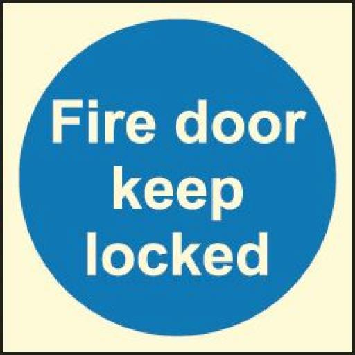 Fire door keep locked (Photoluminescent)