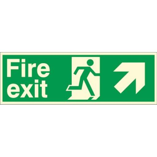 Fire exit - Running man - Right up arrow (Photoluminescent)