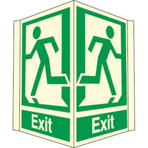 Exit (Projecting sign Photoluminescent )