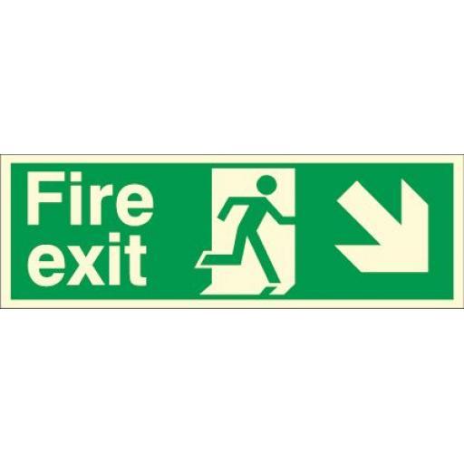 Fire exit - Running man - Down right arrow (Photoluminescent)