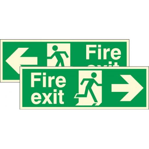 Fire exit - Running man - right / left arrow (Double sided) (Photoluminescent)