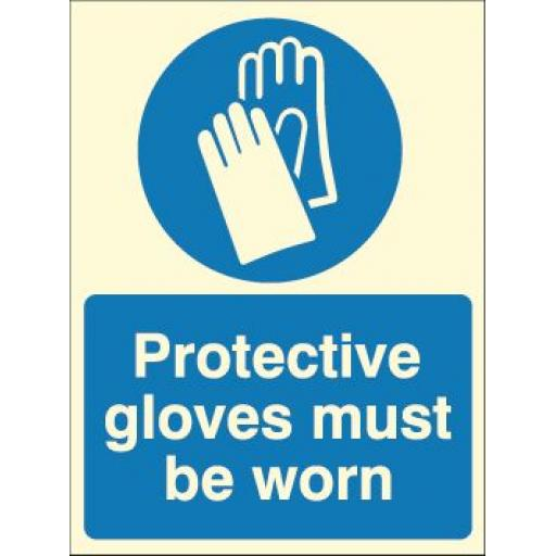 Protective gloves must be worn (Photoluminescent)