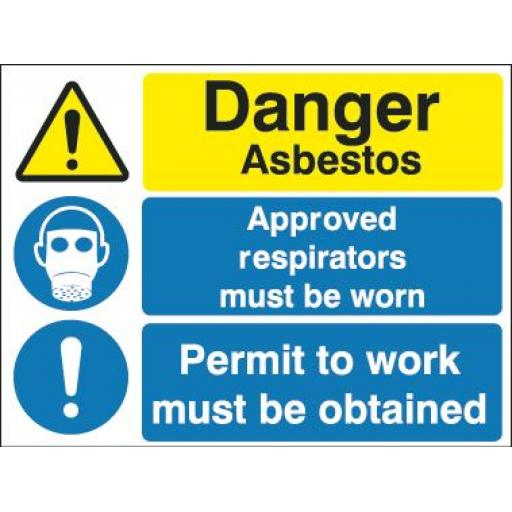 Danger Asbestos Approved respirators must be worn Permit to work must be obtained