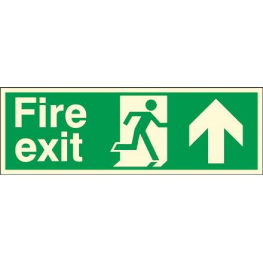 Fire exit - Running man - Up arrow (Double sided) (Photoluminescent)