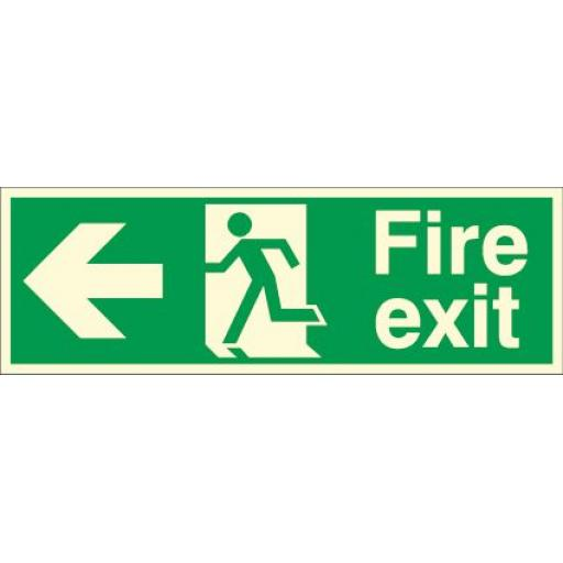 Fire exit - Running man - Left arrow (Photoluminescent)