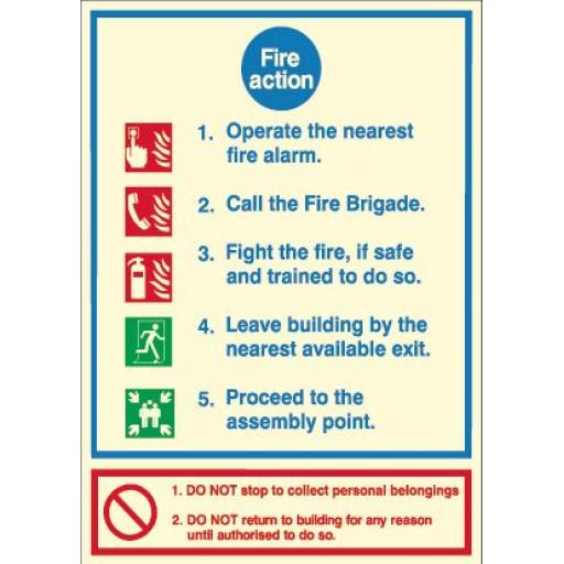 Fire Action - Do not stop to collect personal belongings (Photoluminescent)