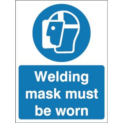 Welding mask must be worn