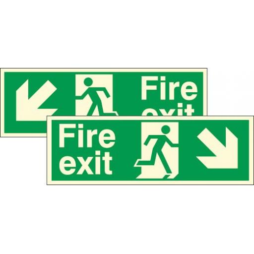 Fire exit - Running man - Down right / Down left arrow (Double sided) (Photoluminescent)