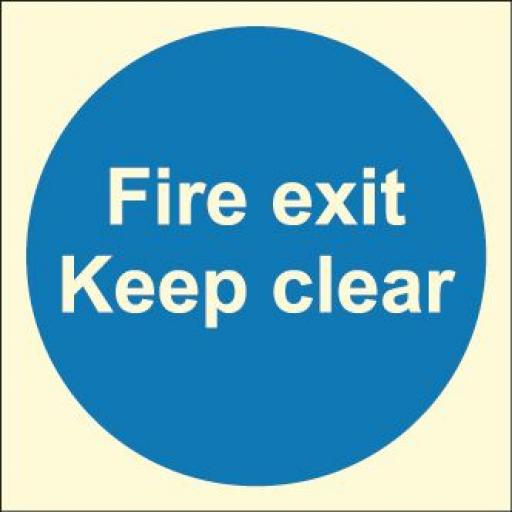 Fire exit keep clear (Photoluminescent)