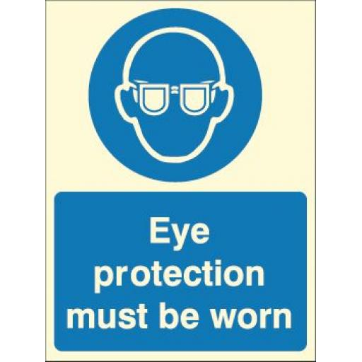 Eye protection must be worn (Photoluminescent)
