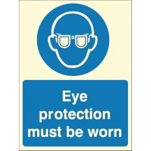 Eye protection must be worn (Photoluminescent)