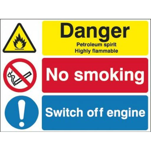 Danger Petroleum spirit Highly flammable No smoking Switch off engine