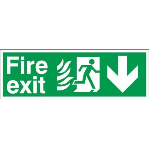 Fire exit - Flame - Running man - Down arrow