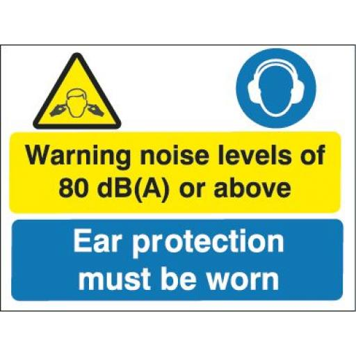 Warning noise levels of 80 db(A) or above Ear protection must be worn