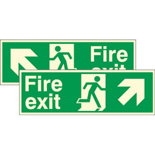 Fire exit - Running man - Up right / left arrow (Double sided) (Photoluminescent)