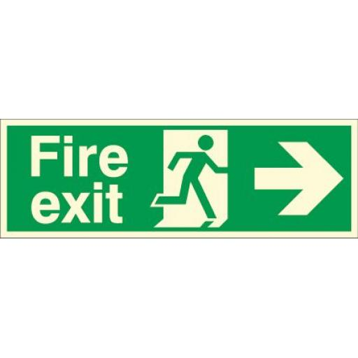 Fire exit - Running man - Right arrow (Photoluminescent)