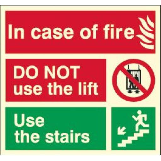 Fire Action - In case of fire (Photoluminescent)