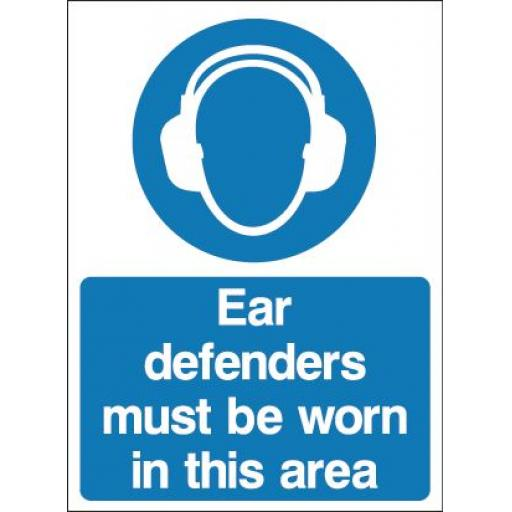 Ear defenders must be worn in this area (Double sided)