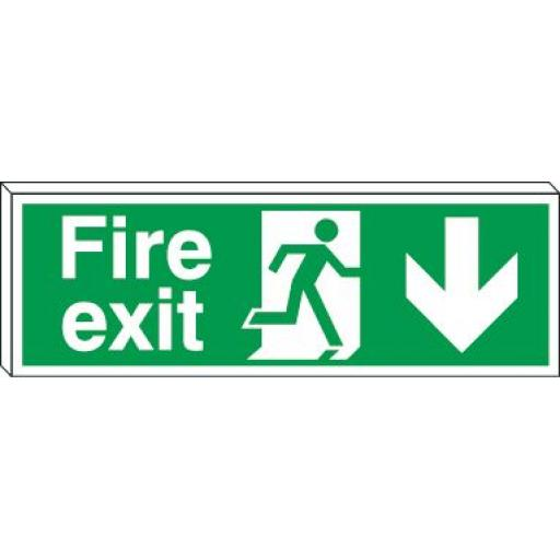 Fire exit - Running man - Down arrow (Double sided)