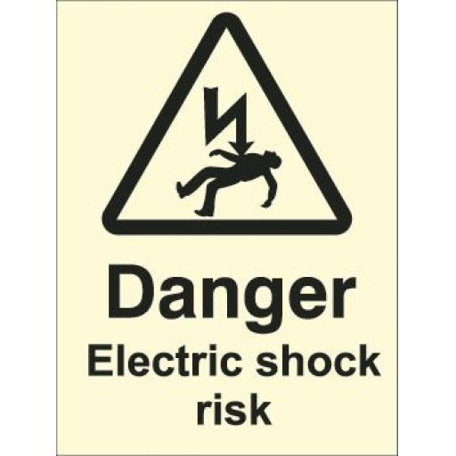 Danger Electric shock risk (Photoluminescent)