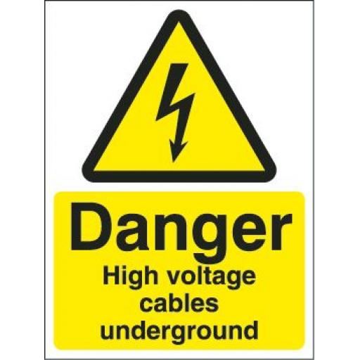 Danger High voltage cables underground